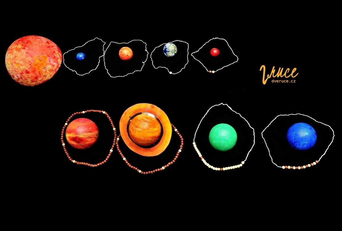 Měsíce planet - navlékání korálků