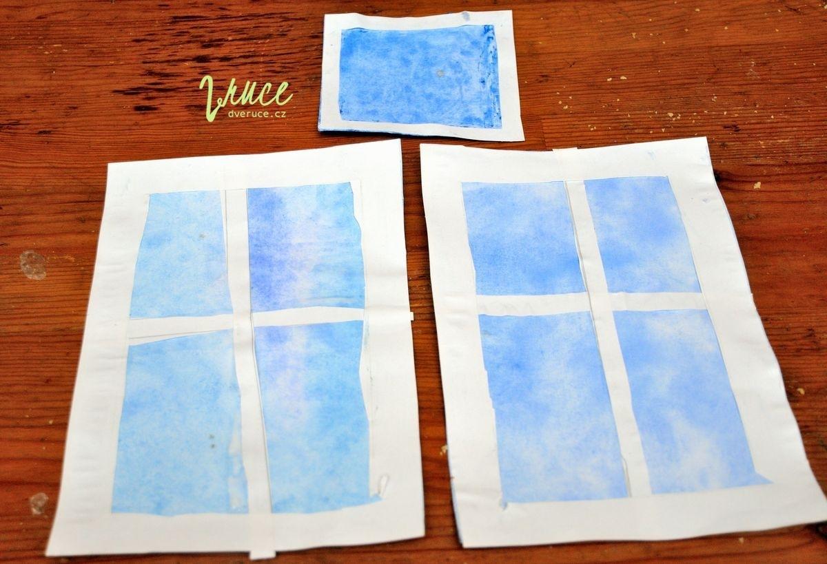 Obtisk sáčku - zimní zamrzlé okno