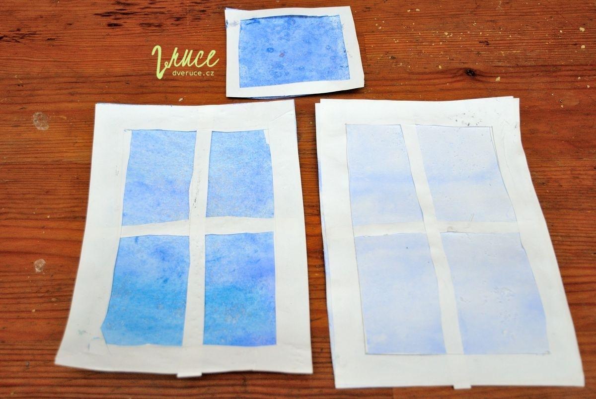 Solený akvarel - zimní zamrzlé okno