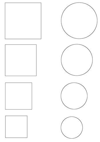 Kruh a čtverec - různé velikosti