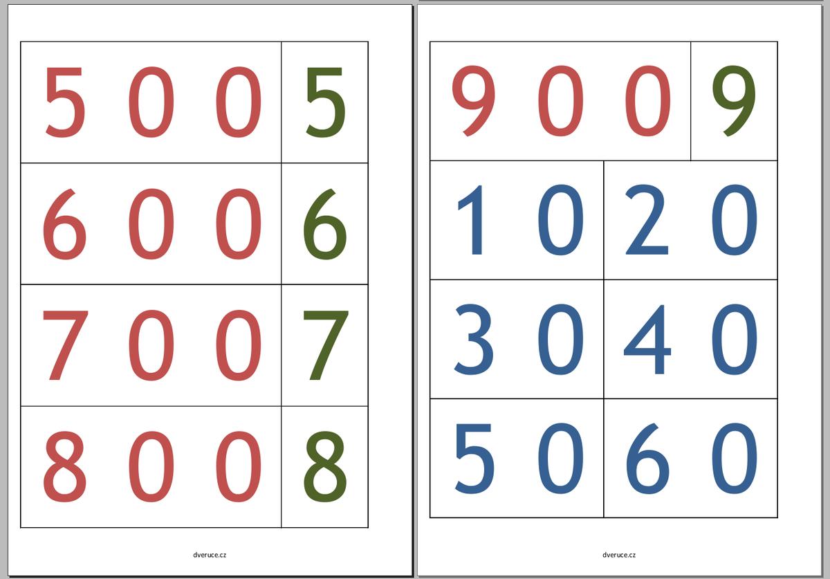 Karty čísel k tisku (barevné)
