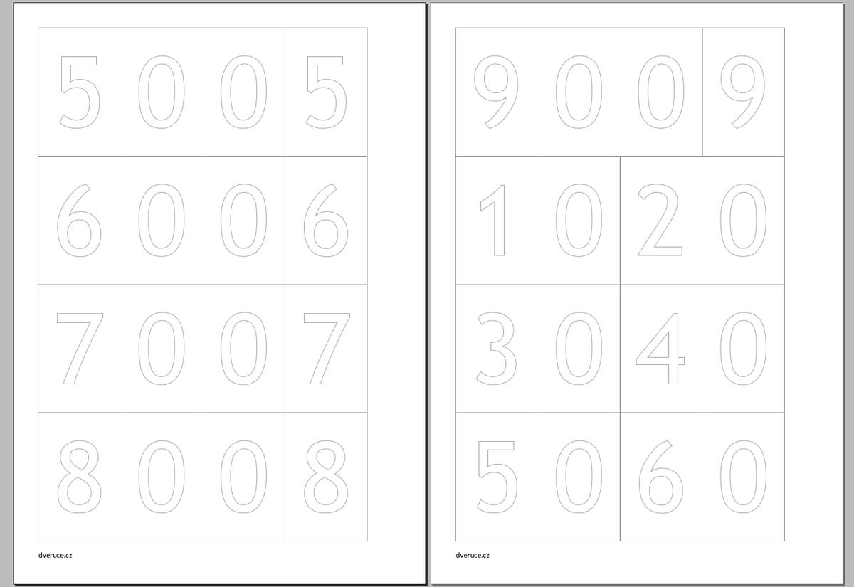 Karty čísel k tisku (k vybarvení)
