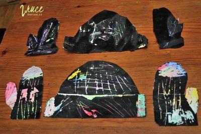 Škrábací obrázek (zimní čepice a rukavice)