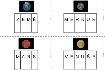 Planety - šablony pro pohyblivou abecedu (k tisku i k vybarvení)