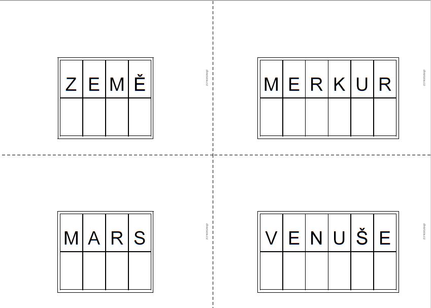 Vesmír - šablony pro pohyblivou abecedu